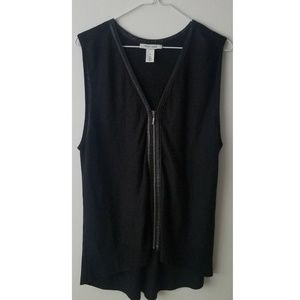 White House Black Market Leather Trim Zipper Top